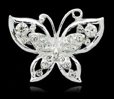 SILVER BUTTERFLY WITH DIAMANTES BROOCH BROACH LAPEL PIN UK SELLER BUTTERFLIES
