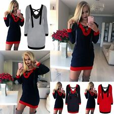 Lady Casual Dresses V Neck Long Sleeve Strappy Patchwork Fitted Mini Dress Party