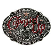 Montana Silversmiths Two Tone Cowgirl Up Stars'n Spurs Attitude Belt Buckle