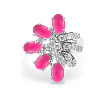 925 Sterling Silver Pink Tourmaline Ring Natural Four Gemstone Cocktail Size 5-1