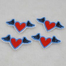 Cute mini winged hearts Embroidered Cloth Iron On Patch Sew Motif Applique badge