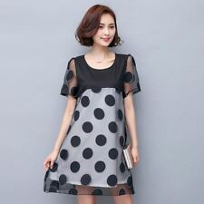 Women Dot Pattern Patchwork Lace Decorated A Line Knee Length Dress