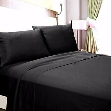 Extra Deep Pocket 1Qty Fitted Sheet Only 100% Cotton 1000 TC Black Solid