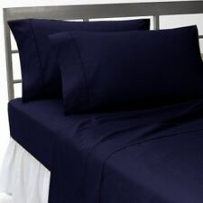 Extra Deep Pocket 1Qty Fitted Sheet Only 100% Cotton 1000 TC Navy Blue Solid