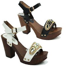 WOMENS LADIES PLATFORM HIGH BLOCK HEEL ANKLE STRAP BUCKLE SANDALS SHOES SIZE 3-8