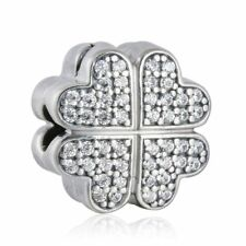 authentic 925 sterling silver Pave CZ Petals of Love Lock Clip Bead Jewelry