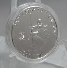 South Korea 1987 GEM BU 5000 Won Seoul Olympics Girls on Swing Silver Coin C0696