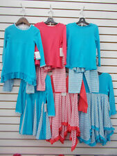 Toddler/Girls Just Blanks Monogramable Turquoise/Rose Coral Outfits Sz 4T/4 - 5
