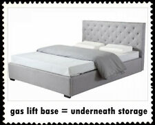 New Double/Queen Grey Linen Upholstered Bed Frame & Button Tufted Bed Head