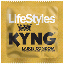 Lifestyles KYNG, Larger Fit Lubricated Latex Condoms with Silver Travel Case