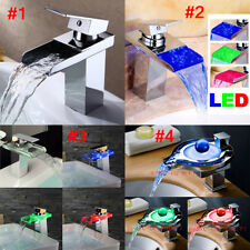 4Model Glass/Brass LED Bathroom Faucet Glass Waterfall One Hole/Handle Mixer Tap