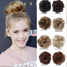 Natural Synthetic Elastic Scrunchie Curly Bun Hairpiece Hair Extension Brown USA