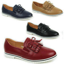 WOMENS LADIES CASUAL FLAT SLIP ON TASSEL MOCCASINS LOAFERS PUMPS SHOES SIZE 3-8