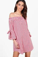 NEW Boohoo Womens Charlotte Off The Shoulder Gingham Dress in Polyester
