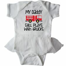 Inktastic Firefighter Daddy Plays With Trucks Infant Tutu Bodysuit Fireman Truck
