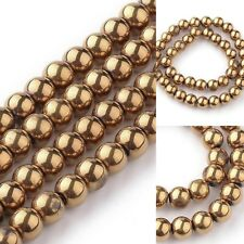 Gold Glass 8mm Electroplate Round Beads Spacer Shiny Jewelry Making Supplies HOT