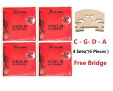 Merano New 4 Sets of Viola Strings+Free Bridge for Student,Beginner,School