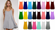 Womens Ladies Sleeveless Cami Swing Floaty Flared Strappy Skater Dress Vest Top