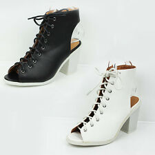 WOMENS LADIES CHUNKY HEEL CUT OUT PEEP TOE LACE UP ANKLE BOOTS SHOES SIZE 3-8