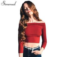 Women Blouses Clothing Casual Off Shoulder Crop Top Slim  3/4 Sleeves T-shirts