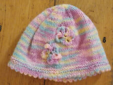 Brand New Hand Knitted Pastel Baby hat 0-3 / 3-6 / 6-9 Months
