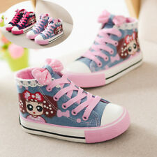 Child Girls Kids High Top Canvas Shoes Running Breathable Casual Sneakers Sports