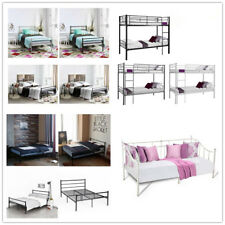 3FT Single 4ft6 Double Metal Bunk Bed Frame Adult Children Black White Silver