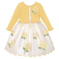 Toddler Girls Floral Bouquet Embroidered Dress & Cardigan Easter Church 2T-4T)