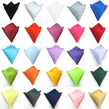 Men Classic Satin Solid Pocket Square Fashion Wedding Party Hanky Handkerchief