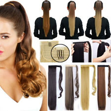 US Real Thick Clip In Hair Extensions Pony Tail Wrap On Ponytail Curly Wavy HCY