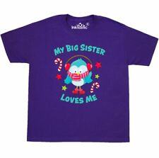 Inktastic My Big Sister Loves Me With Christmas Bird Youth T-Shirt Family Merry
