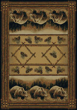 AREA RUG CABIN COTTAGE HAUTMAN BROTHERS COLL GRIZZLY BEAR PINE OLEFIN AREA RUG