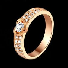 Lady Engagement Band Ring 18K Rose Gold GP Austria Crystal AAA CZ Zircon Jewelry