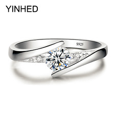 100% Pure 925 Sterling Silver Ring Set Luxury 0.5 ct CZ Diamant Wedding Ring