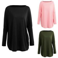 Autumn Women Loose Blouse Solid O-Neck Batwing Long Sleeves Casual Soft Top Pull