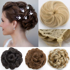 Drawstring Clip In Bridal Bride Scrunchie Bun Updo Cover Ponytail Hair Extension
