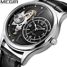 MEGIR Men's Chronograph Quartz Watch Hollow out Mechanical Dial Leather Band