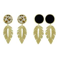 1 Pair Gold Tone Detailed Leaf Dangle Drop Earrings Round Button Earrings