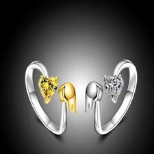 Exquisite Engagement Jewelry Adjustable Ring Angel Wings Love Heart Ring