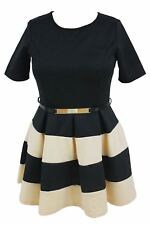 Autumn Wear Short Sleeve Plus Size Skater Belted Dress for Women