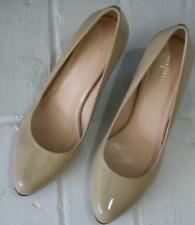 Cole Haan Womens Sz 10B Pump Patent Leather Beige Stacked Heel EUC