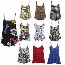 New Ladies Sleeveless Vest Top Swing Cami Strappy Womens Floral Aztec Size 8-24