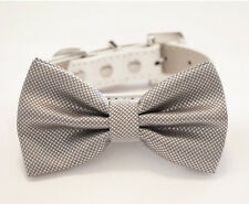 Silver Dog Bow Tie Collar Pet wedding accessory puppy leather handmade dog lover
