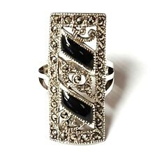 (SIZE 6,7) ONYX MEDIEVAL RING Elongated Shape Marcasite .925 STERLING SILVER