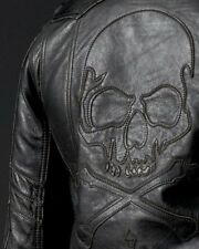 Affliction ASSAULT Leather Motorcycle Jacket M L NWT NEW Skull Black