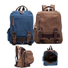 Men's Canvas Backpack Shoulder Messenger Bag Crossbody Travel Rucksack Schoolbag