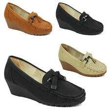 WOMENS SLIP ON WEDGE HEEL ROUND TOE BOAT MOCCASINS LOAFERS LADIES SHOES SIZE 3-8