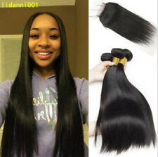 "Brazilian Virgin Human Hair Straight 4""*4"" 1PC Lace Closure with 3 Bundles Weave"