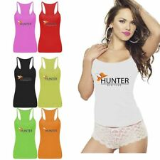 Womens Hunter New York Print Vest Top Sports Strappy RacerBack Club Fancy Dress