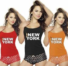 Womens New York Print Vest Top Sports Strappy RacerBack Club Fancy Dress